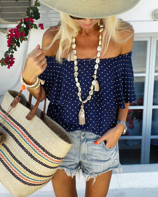 Casual Short Sleeved Collar Loose Blouses