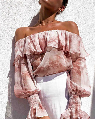 Casual Boat Neck Ruffled Pure Colour Blouses