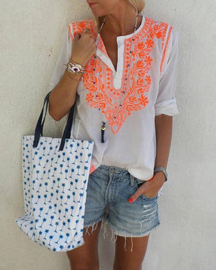 Casual Buckle Collar Print Bluses