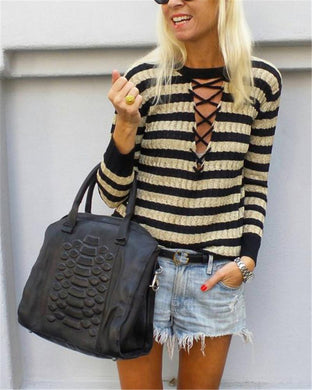 Lace-Up Striped Crew Neck Knit Top