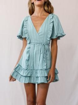Mid-Sleeve Lace-Up Ruffled Dress
