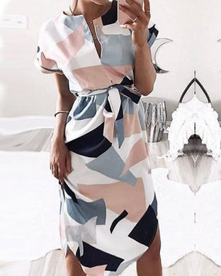 Asymmetric Hem  Belt  Geometric Shift Dresses
