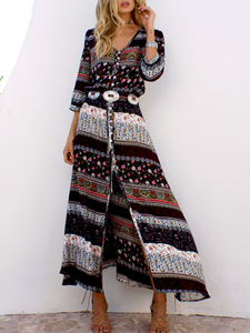 Surplice  Snap Front  Belt  Abstract Print Maxi Dresses
