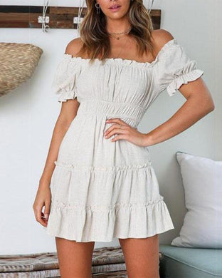 Sexy Word Collar   Off-The-Shoulder Waist Solid Color Dress