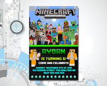 Load image into Gallery viewer, Minecraft Birthday Invitation
