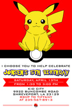 Load image into Gallery viewer, Pokemon Birthday Invitation