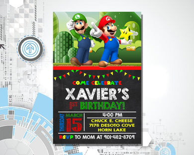 Super Mario Bros Birthday Invitation