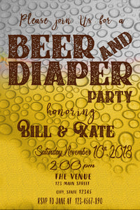 Beer and Diaper Birthday Invitation