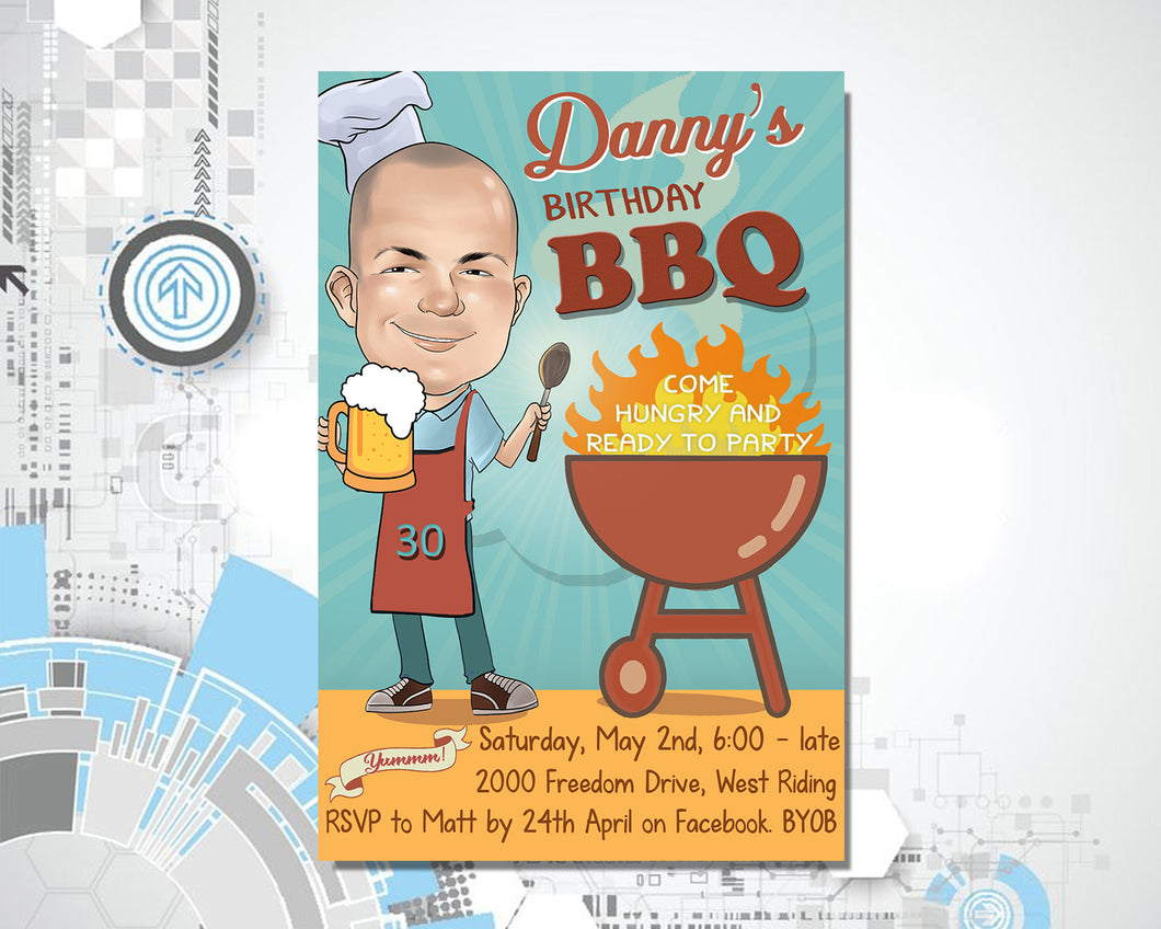 Barbeque Birthday Invitation