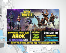 Load image into Gallery viewer, Fortnite Birthday Invitation
