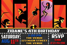 Load image into Gallery viewer, The Incredibles Birthday Invitation