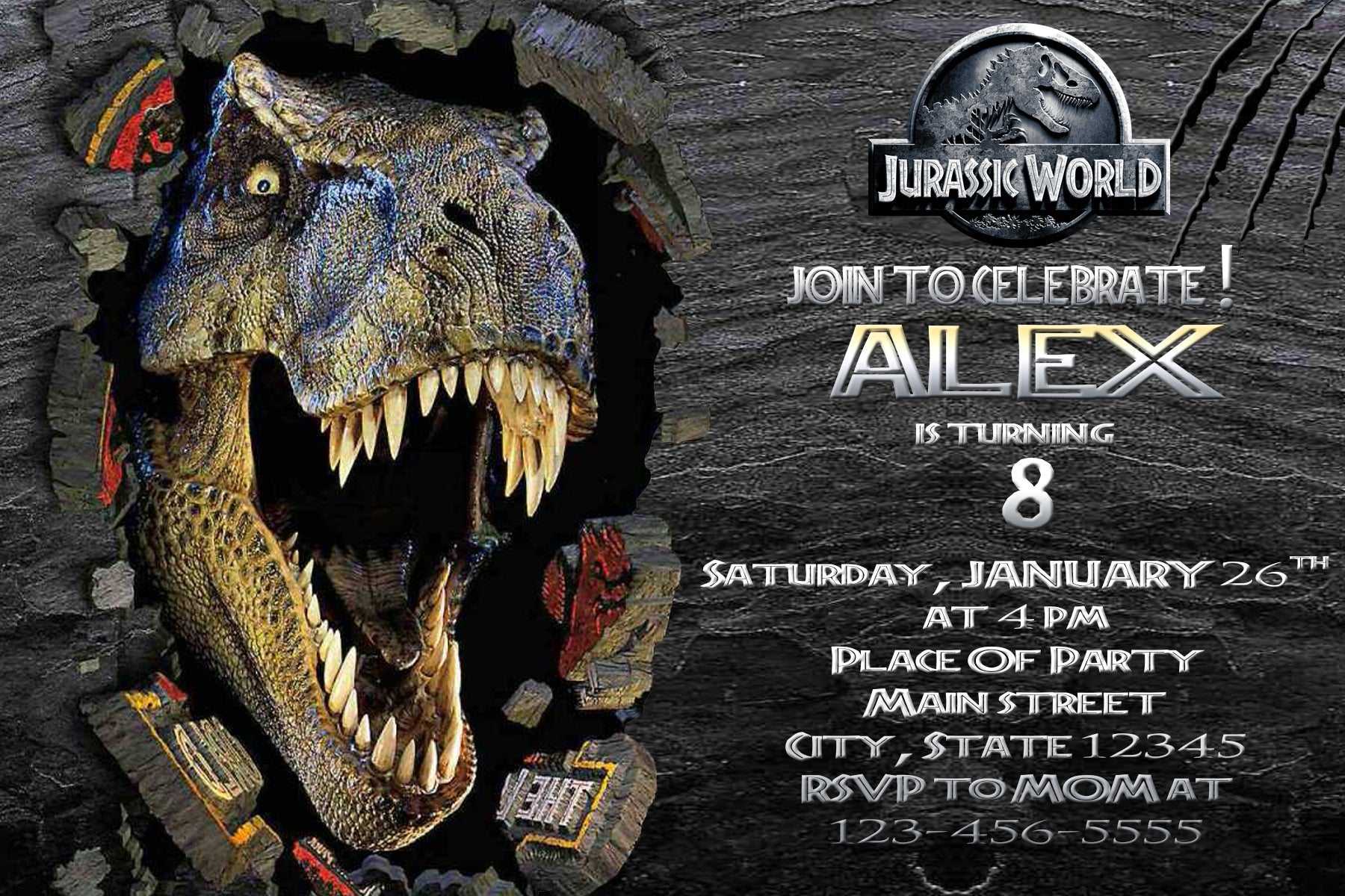 Load Image Into Gallery Viewer Jurassic Park Birthday Invitations