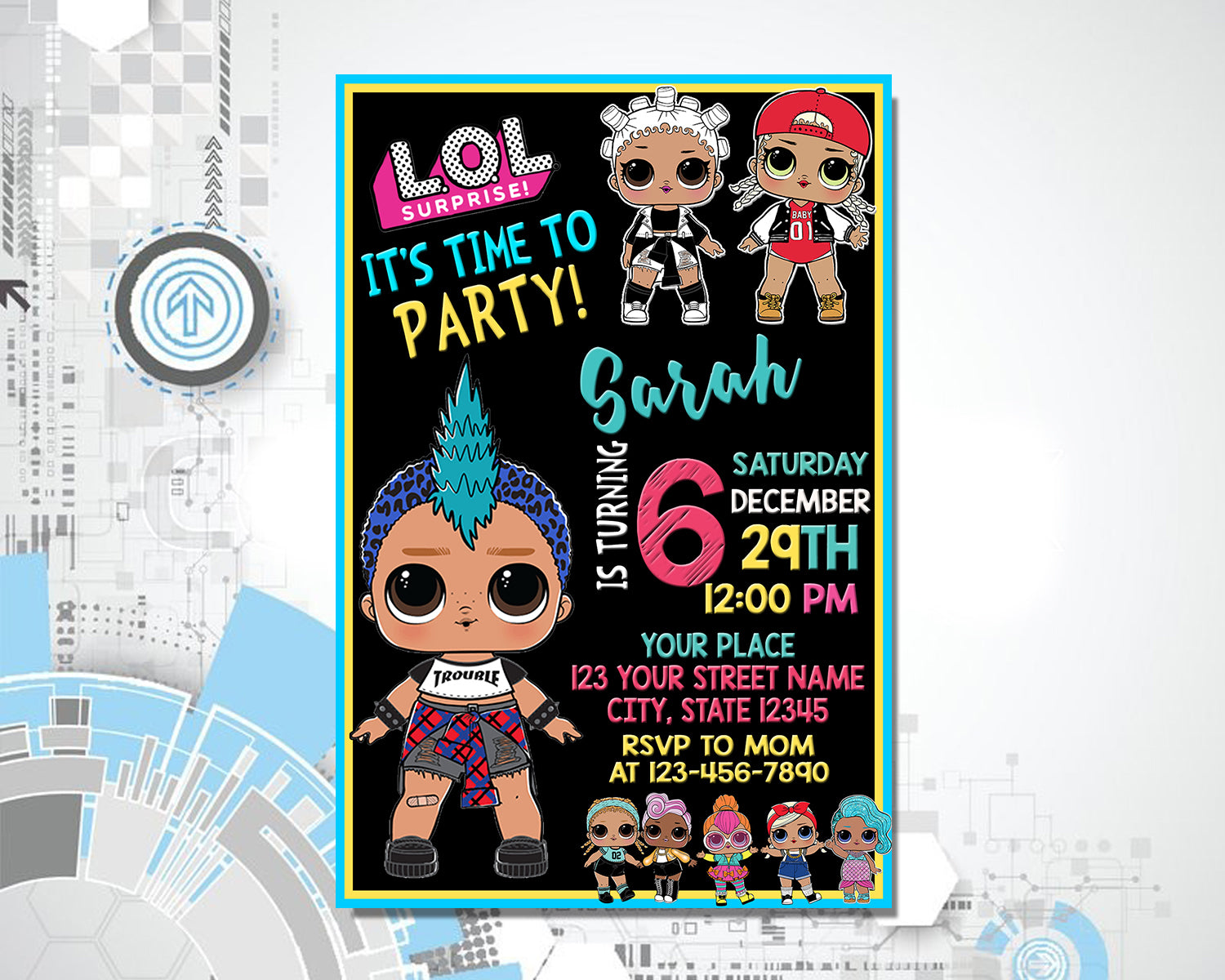 Load Image Into Gallery Viewer LoL Doll Birthday Invitations