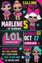 Load image into Gallery viewer, LoL doll Birthday Invitations