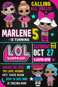 LoL doll Birthday Invitations