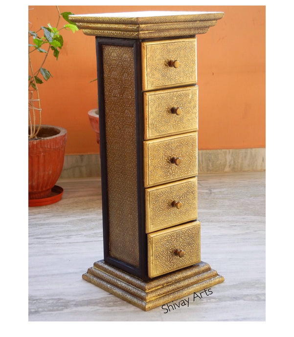 Wooden & Brass Ethnic Pillar Chest With 5 Drawers