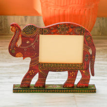 Load image into Gallery viewer, Wooden Ethnic Multicolored Elephant Photo Frame Photo Stand