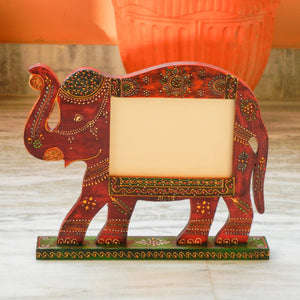 Wooden Ethnic Multicolored Elephant Photo Frame Photo Stand