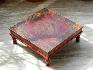 Wooden Handmade Hand Painted Colorful Rangoli Design Indian Chowki Bajot