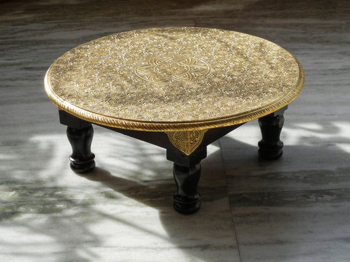 wooden & brass round chowki bajot coffee table