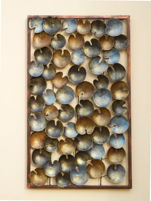 Shivay Arts Metal Contemporary Lotus Leaf Panel Wall Decor Wall Hanging