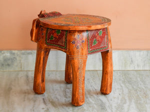 Shivay Arts Wooden Elephant Painted Pouffe Ottoman Stool