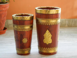 Wooden & Brass Sheet Designer Ethnic Flower Vase Pot - Set Of 2