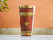 Load image into Gallery viewer, Wooden & Brass Sheet Designer Ethnic Flower Vase Pot - Set Of 2
