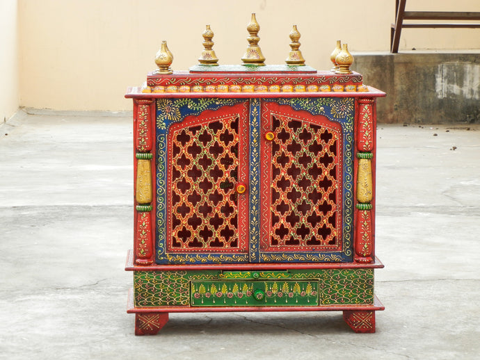 Wooden Handmade Hand Painted Temple Mandir