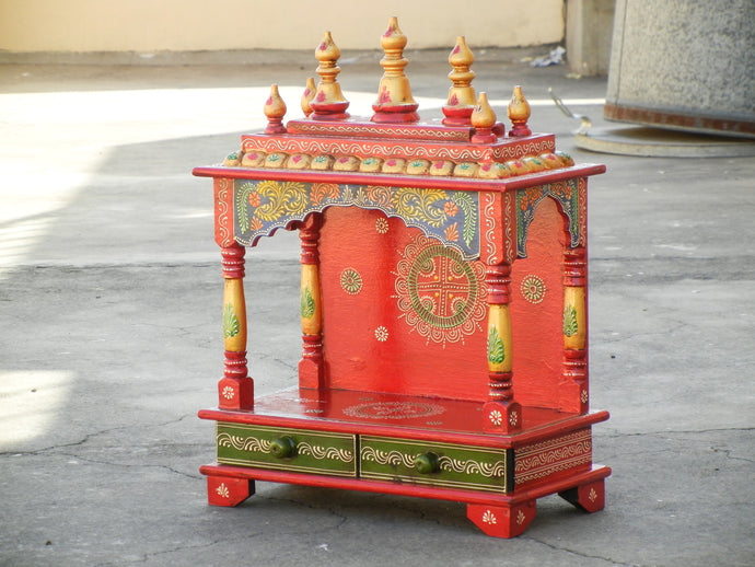 Wooden Handmade Hand Painted Multicolor Home Temple Mandir Pooja Ghar
