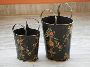 contemporary metal painted vase basket