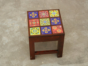 Contemporary Designer Wooden & Ceramic Nesting Stool Table Side Table - Set of 3