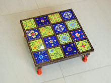 Load image into Gallery viewer, Wooden and Ceramic Tile Chowki Bajot