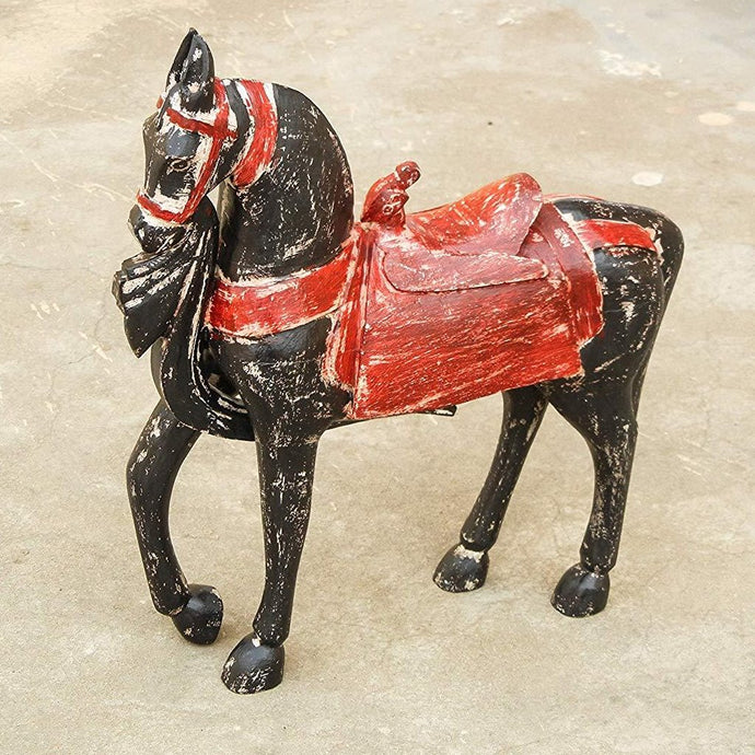 wooden distress finish horse showpiece figurine home decor