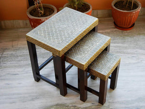 Ethinc Designer Wooden & Brass Nesting Stool Table Side Table - Set of 3