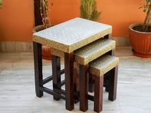 Load image into Gallery viewer, Ethinc Designer Wooden & Brass Nesting Stool Table Side Table - Set of 3