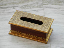 Load image into Gallery viewer, Wooden & Brass Handmade Ethnic Tissue Box