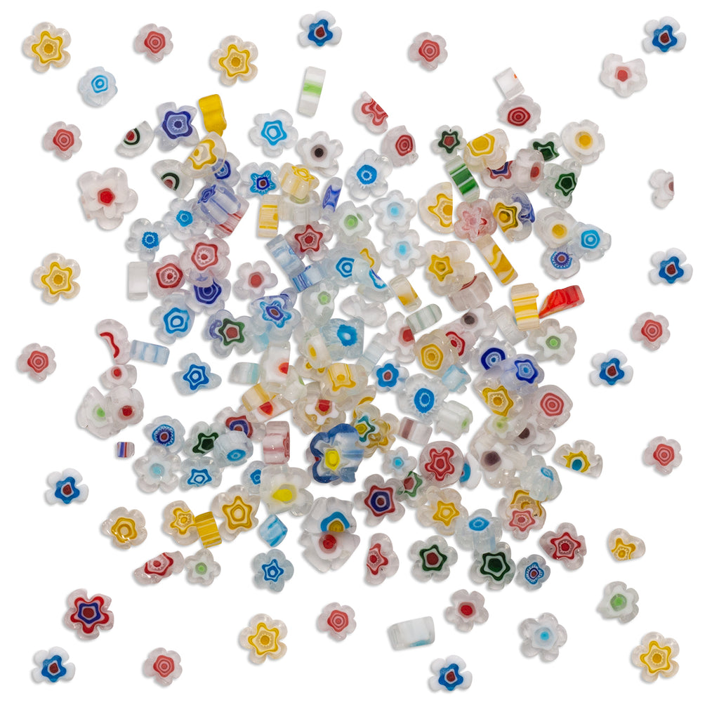 White Mix Millefiori Flower Pieces - 1kg SECONDS