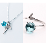 Deep Blue Ocean 925 Sterling Silver Ring + FREE Matching Ocean Necklace