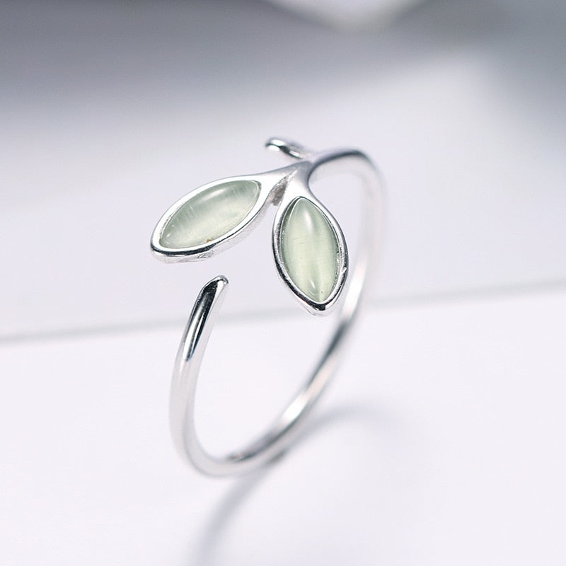 925 Sterling Silver Opal Leaf Ring