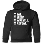 Eat Sleep Wrestle Repeat Toddler Pullover Hoodie