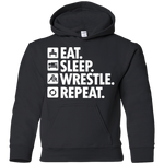 Eat Sleep Wrestle Repeat Youth Pullover Hoodie