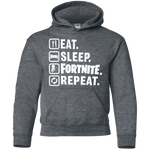 Eat Sleep Fortnite Repeat Youth Pullover Hoodie