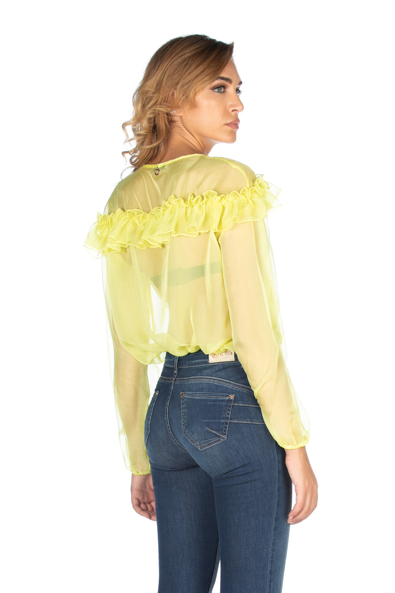 Blusa SMITH modello body con manica lunga e volant