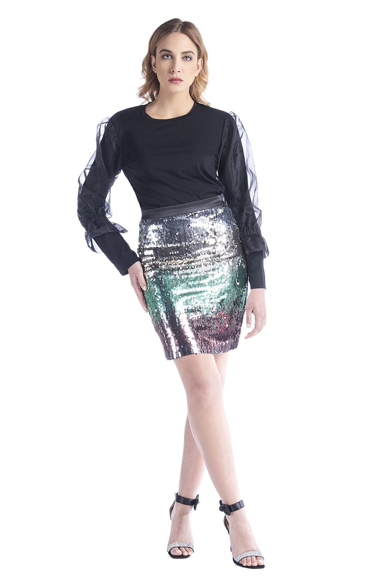 Gonna longuette con paillettes multicolor, relish fashion moda, abbigliamento femminile