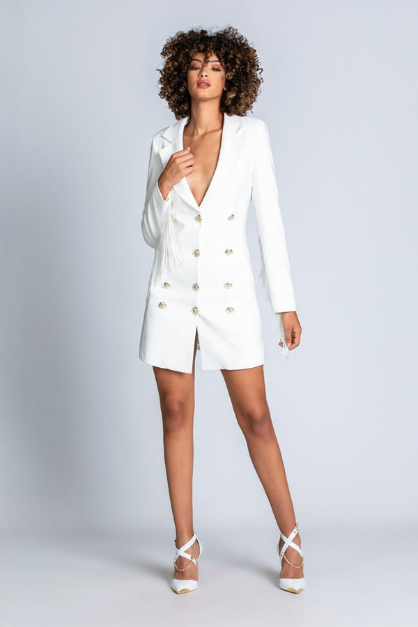 SOLEIL long-sleeved blazer dress with double-breasted effect plus gold buttons plus fringes