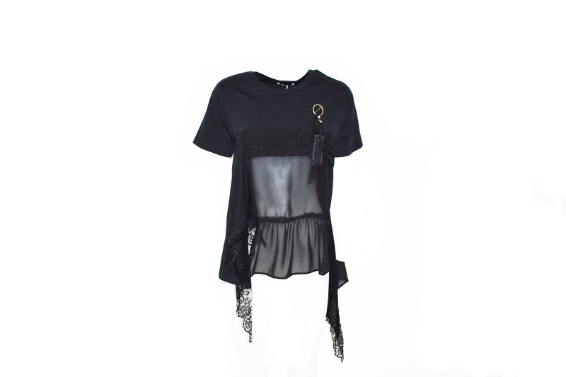 T-shirt con georgette e pizzo SBIEGAS