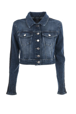Giubbino in denim corto con gros grain e strass lungo le due maniche MARIT