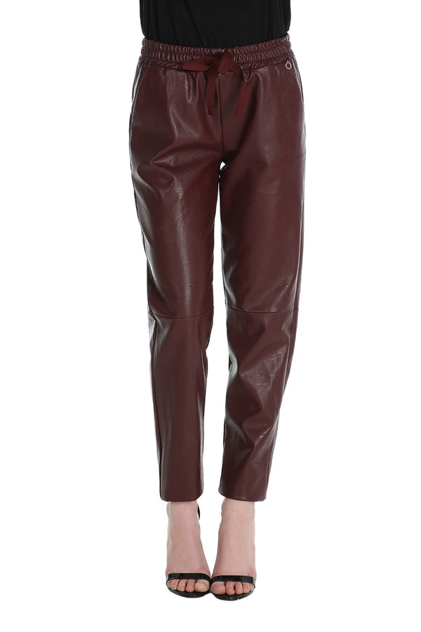 Pantalone jogging in similpelle con coulisse LUNNESA