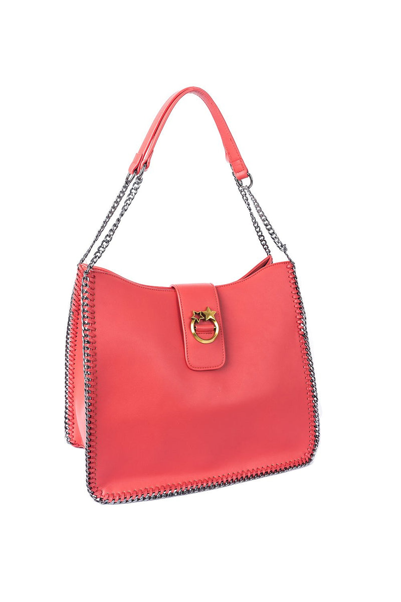 Borsa in ecopelle con catene ai bordi, relish fashion moda, abbigliamento donna